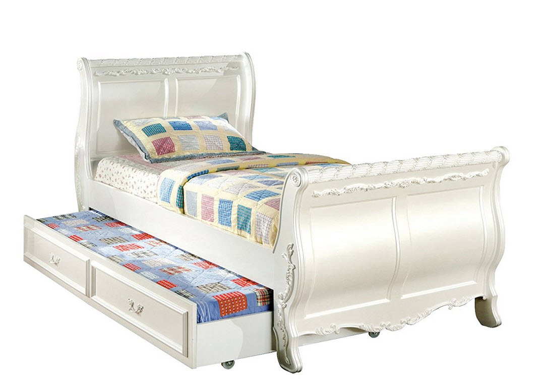 White twin sleigh bed with trundle White twin trundle bedroom set