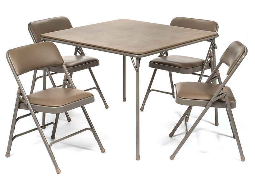 Folding Bridge Table And Chairs Pictured: 5pc. XL Series Folding Card Table  And Triple Braced Vinyl Padded Chair Set, Commercial Quality, Beige