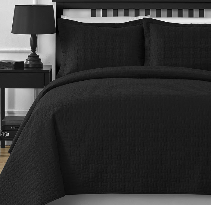 Plain Black Bedspreads - r
