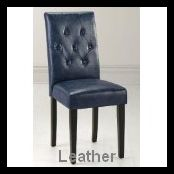 Blue Leather Dining Chair picture-2