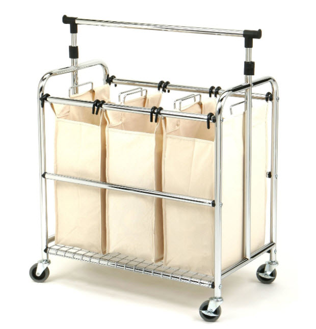 Good Laundry Hamper With Wheels Part - 6: 3 Section Laundry Hamper With Wheels