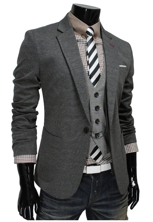 Men's Fitted Blazers example. Pictured: TheLees Mens Casual 1 Button ...