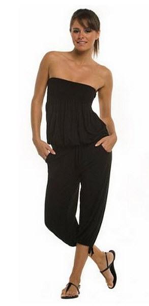 black silk strapless jumpsuit - 2