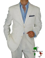 mens ivory linen suit picture-1