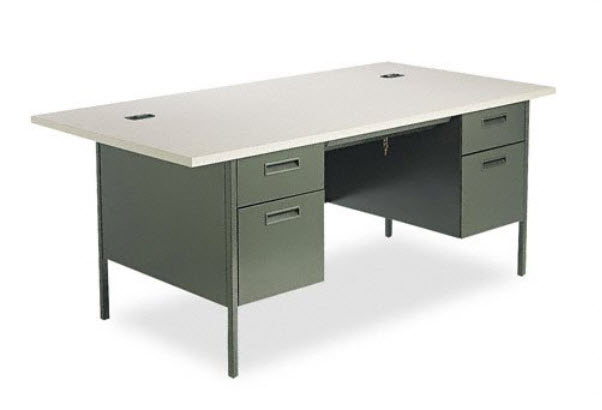 grey office desks example pictured hon metro classic series double