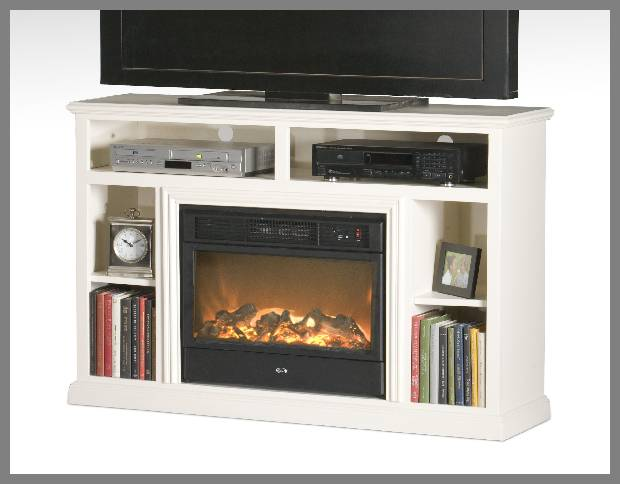 tv stands with electric fireplace image