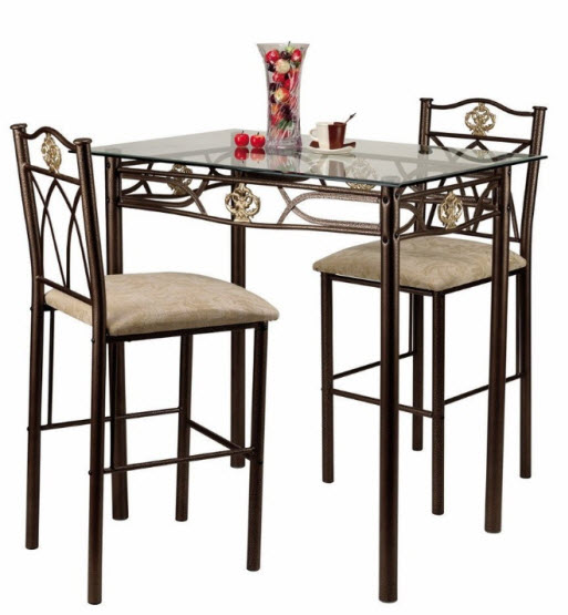 Bistro kitchen table set pictured: Home Source Industries Crown Bistro