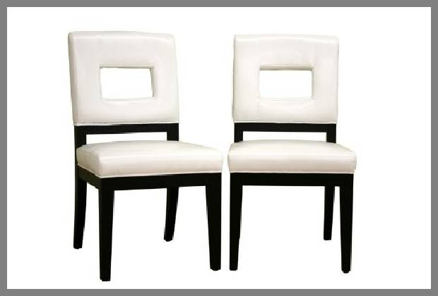 Black and white dining chairs image