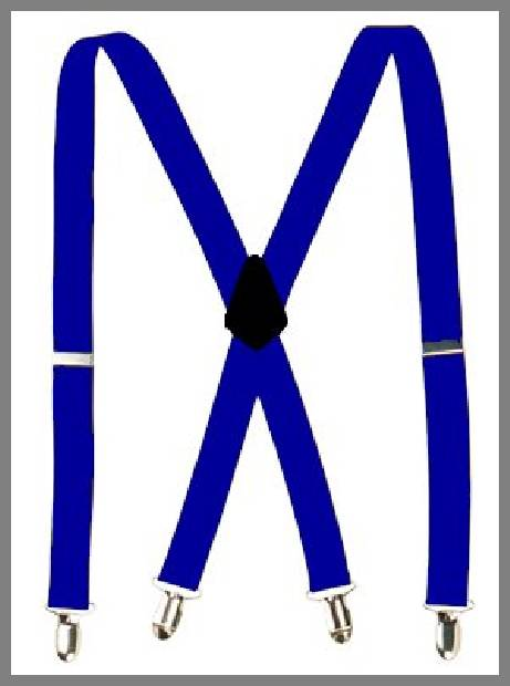 Blue suspenders for men image