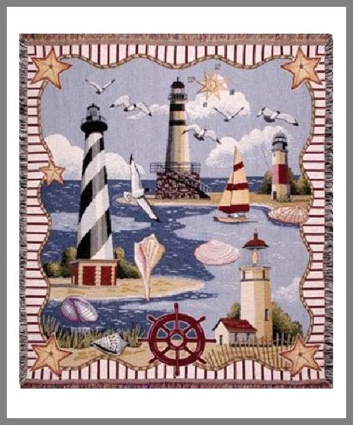 Lighthouse throw blankets