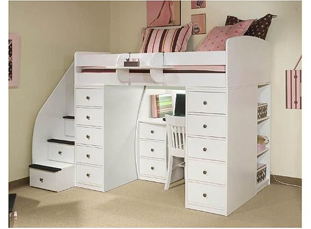 Kids loft bed with desk pictured: Space Saver Loft T with 2 Chests ...