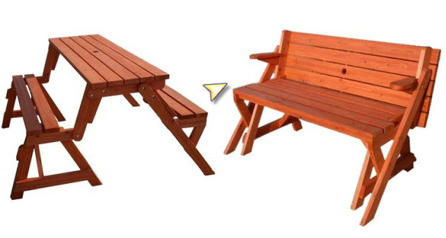 Folding picnic tables example. Pictured: Convertible Wood Picnic Table ...