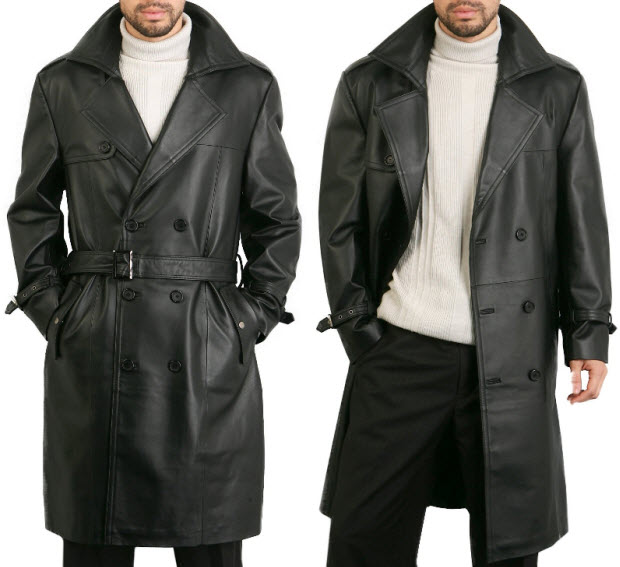 Images of Leather Trench Coat - Reikian