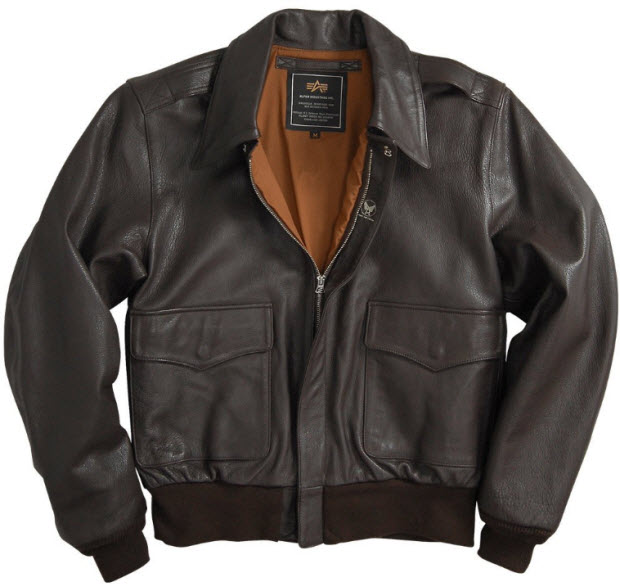 leather bomber jacket pictured: Alpha Industries A-2 Leather Jacket