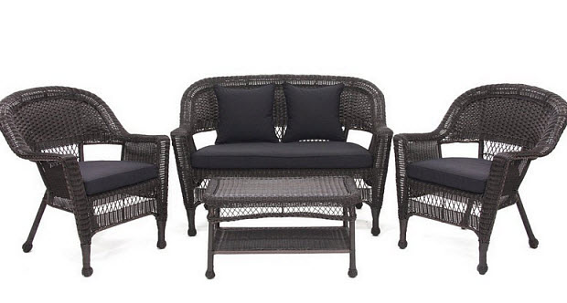 Black Wicker Outdoor Sofa Modern Patio Outdoor