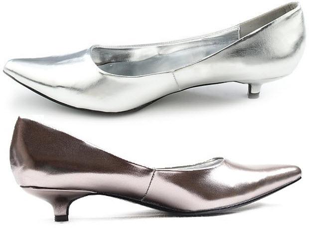 Silver Low Heel Wedding Shoes