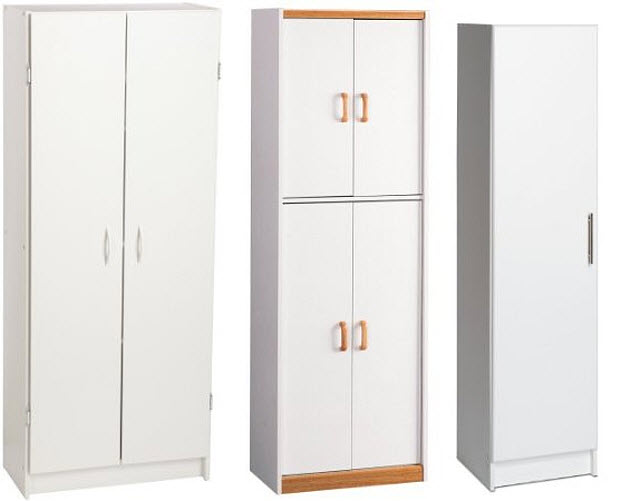 tall white storage cabinets