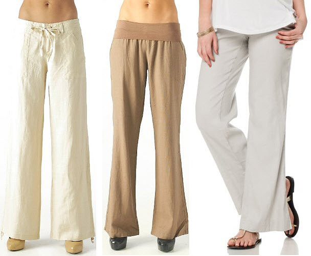 Womens Wide Leg Linen Drawstring Pants - Fat Pants