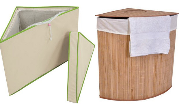 Left: One Step Ahead 2 In 1 Toy Storage Bin Natural With Green Trim Right:  Collapsible Bamboo Laundry Hamper W/cotton Liner. Triangle Shape By Ginson