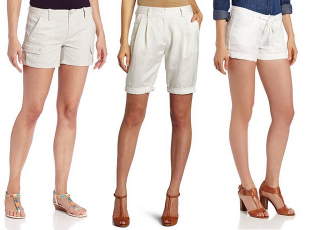Ladies White Linen Shorts