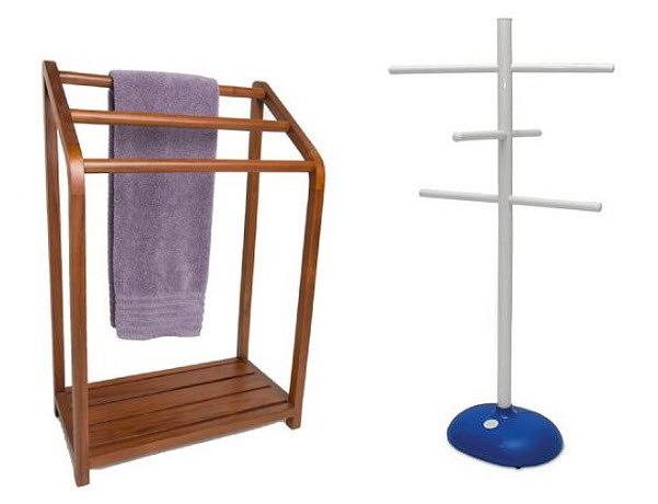 Outdoor towel rack for swimming pool