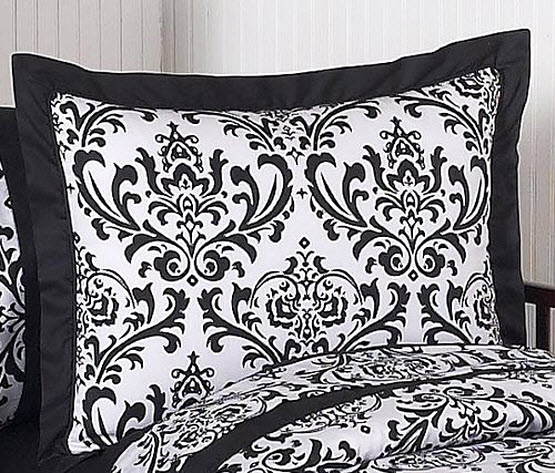 Black and white damask twin bedding