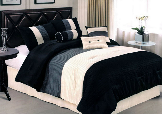 Black and white striped comforter