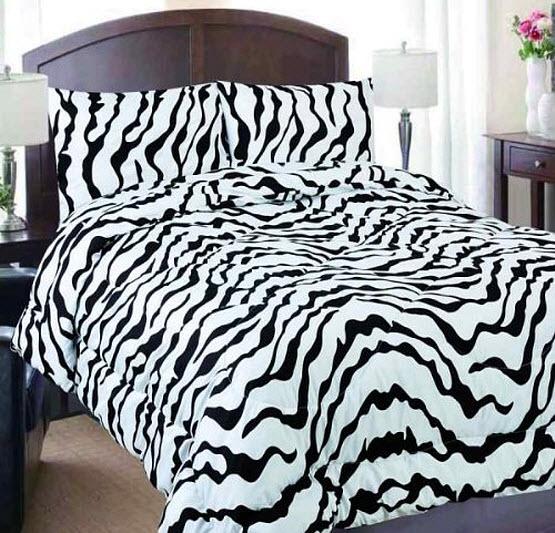 Black and white zebra print bedding