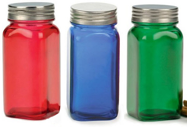 Colored glass jars with lids