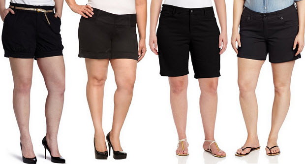 plus size black shorts for women