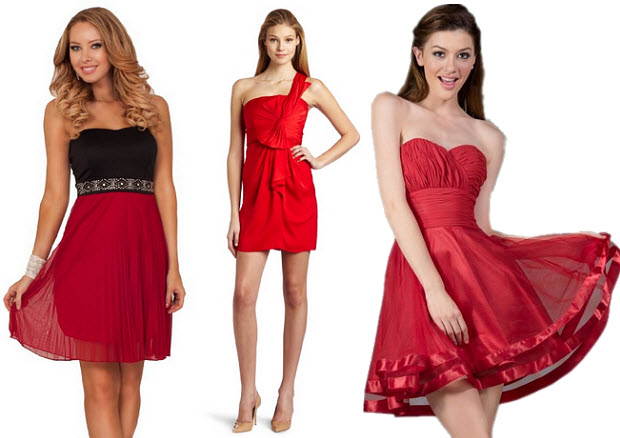 Red holiday cocktail dress