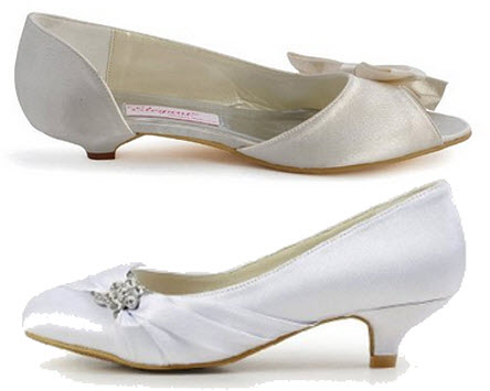 White low heel wedding shoes