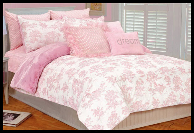 Pink Toile Duvet Cover