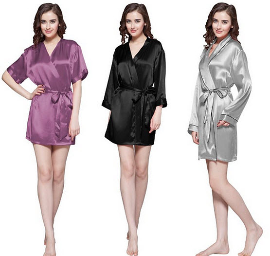 Short silk robes for women