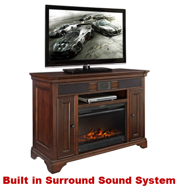 Electric fireplace media console with surround sound