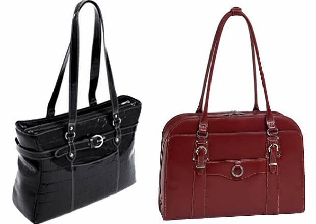 Leather laptop tote bag for women