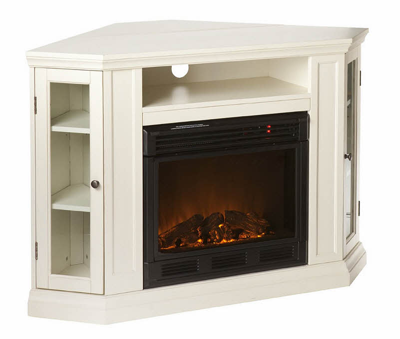 White fireplace tv stand - Space saving corner electric fireplace providing warmth for your small space ...