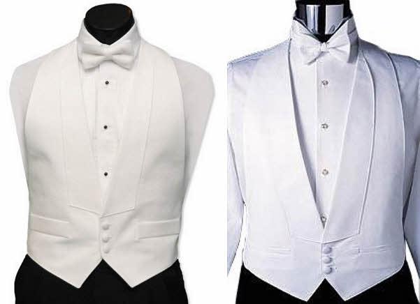 White pique tuxedo vest