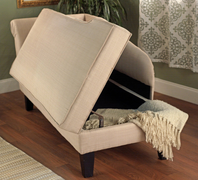 Beige chaise lounge with storage