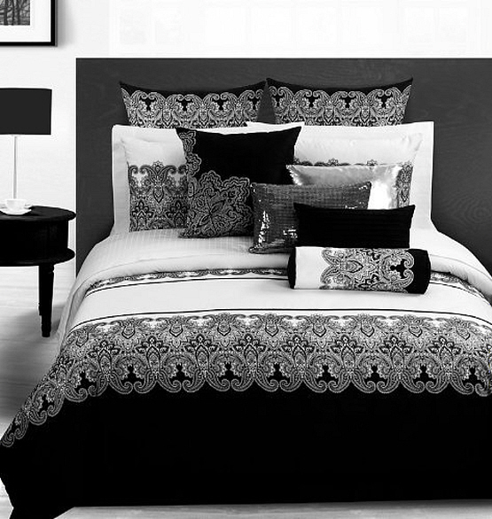 Black and white luxury bedding