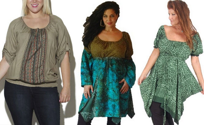 Green plus size peasant blouse