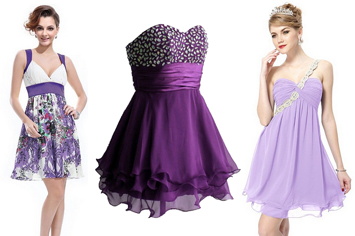 Purple chiffon cocktail dresses