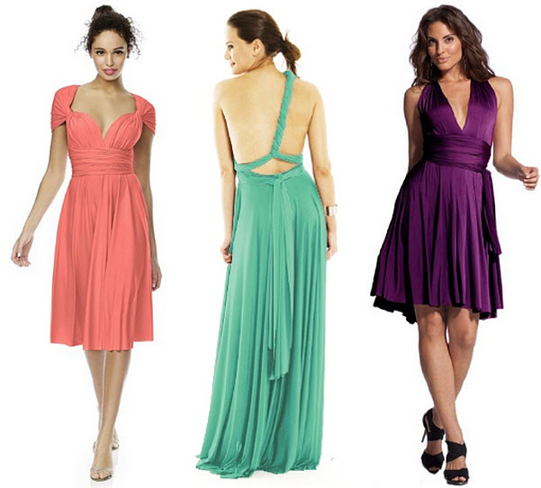 Twist wrap bridesmaid dresses