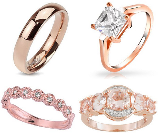 Pink gold wedding rings for women