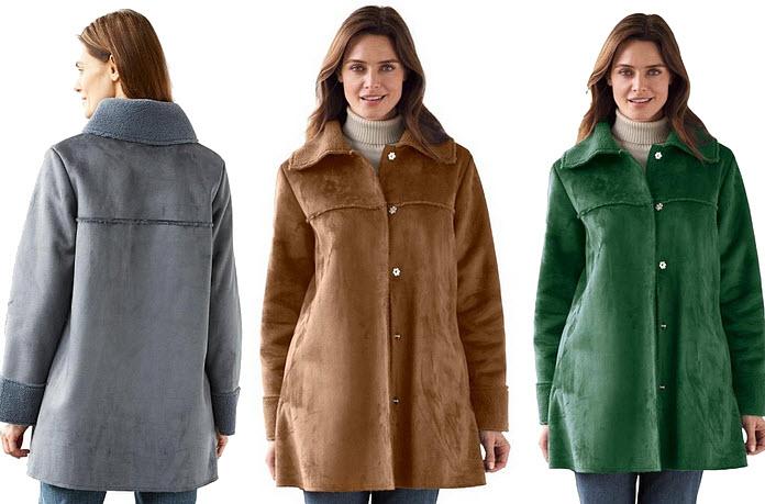 Plus-size faux shearling coats
