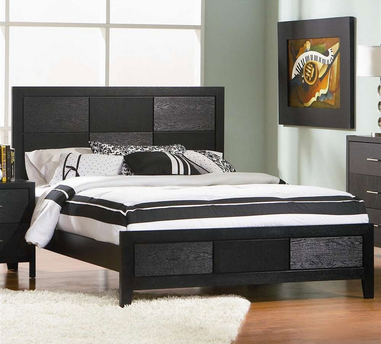 Black wooden bed frames
