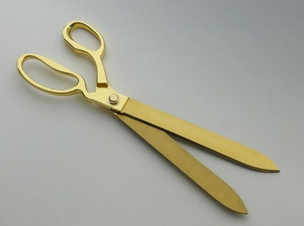 Big gold plated ribbon cutting scissors