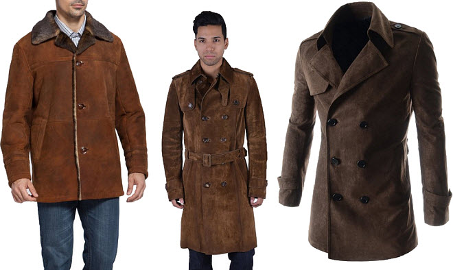 Mens Brown Leather Car Coat
