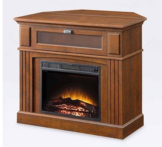 corner electric fireplace media console