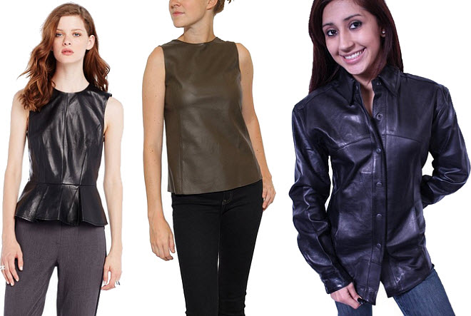 womens leather shirts